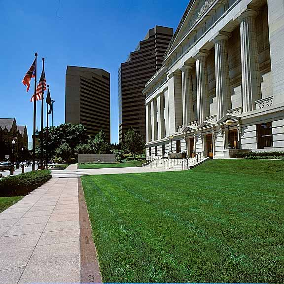 Pervious-Grass Pavement was installed in the fire lane access areas at the Ohio Statehouse Capitol and Veterans Plaza, Columbus, Ohio, using Grasspave2.
