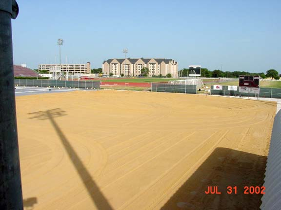 Geocoposite Drainage was installed at the Texas A & M Soccer Field, College Station, Texas, using Draincore2.