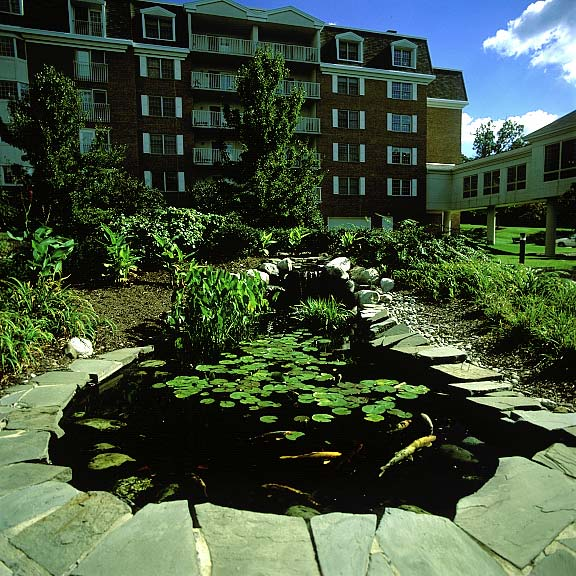 Porous Paving was installed in the fire lane access areas at Riddle Village Retirement Community, Media, Pennsylvania, using Grasspave2.