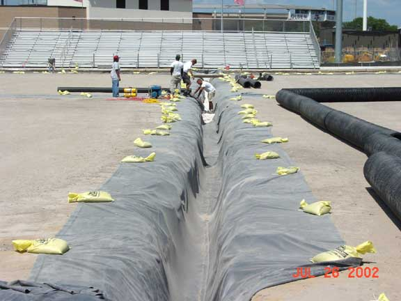 Drainage Layer was installed at the Texas A & M Soccer Field, College Station, Texas, using Draincore2.