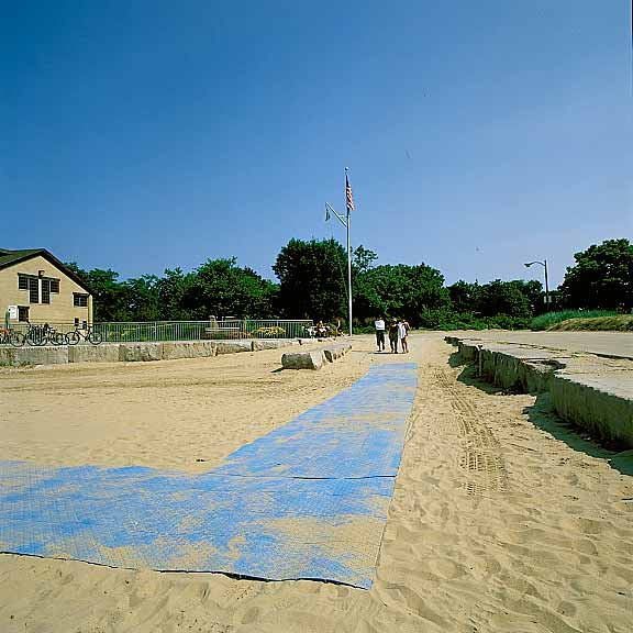 Portable-Beach-Access Mats were installed at Foster Beach and North Beach, Chicago, Illinois, using Beachrings2.