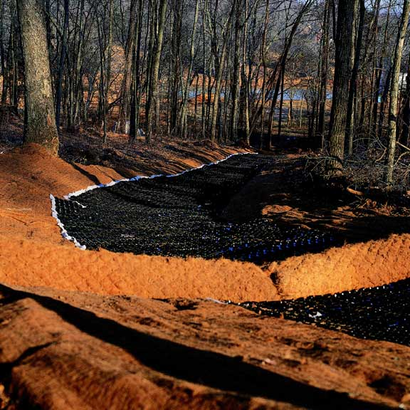 Erosion-Control Mats were installed for soil stabilization on this slope using Slopetame2.