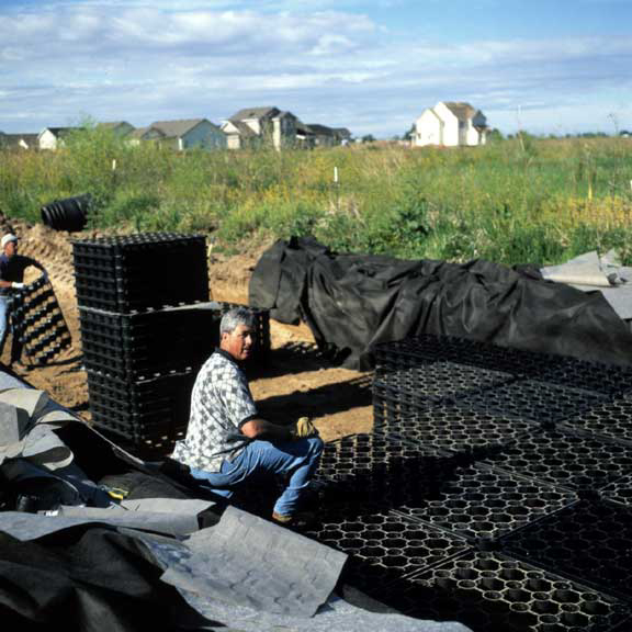 Stormwater storage was installed at the Church of Jesus Christ of Latter-Day Saints, Meridian, Idaho, using Rainstore3.