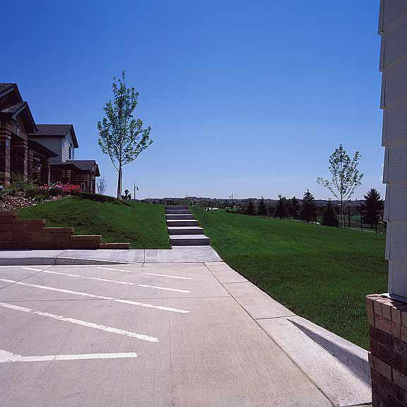 Pervious-Grass Paving was installed in the fire lane access areas at the Green River Apartments, Highlands Ranch, Colorado, using Grasspave2.