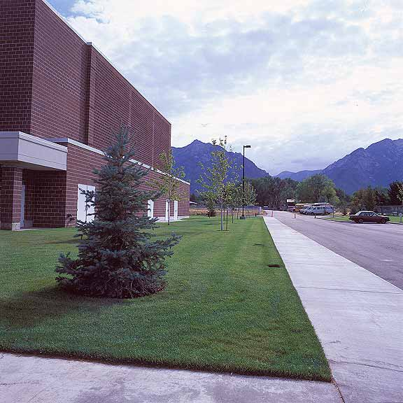 Grass Pavement was installed in the maintenance-access areas at Waterford School, Sandy, Utah, using Grasspave2.