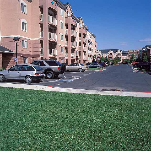 Pervious Pavers were installed in the fire lane access areas at The Palladio Apartments, Salt Lake City, Utah, using Grasspave2.