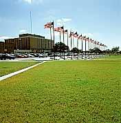 Porous Pavers were installed around the Veterans Memorial using Grasspave2.