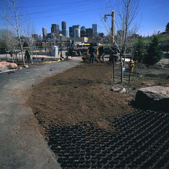 Grass-stabilization mats were installed in fire lane access areas using Grasspave2.