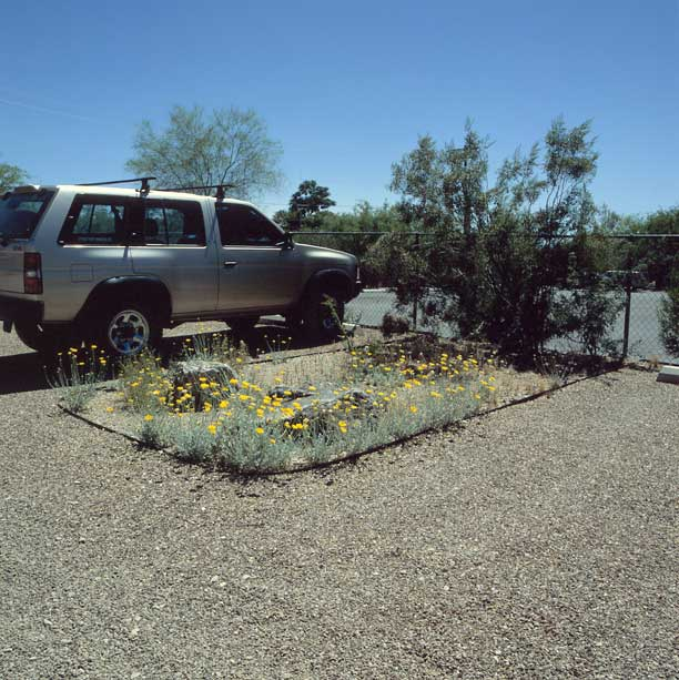 Permeable paving was installed on the parking lot at the Nature Conservancy, Tucson, Arizona, using Gravelpave2.