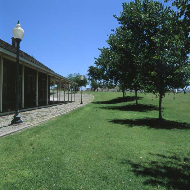 Grass-porous pavers were installed in the fire lane access areas at the Yuma Crossing State Historical Park, Yuma, Arizona, using Grasspave2.