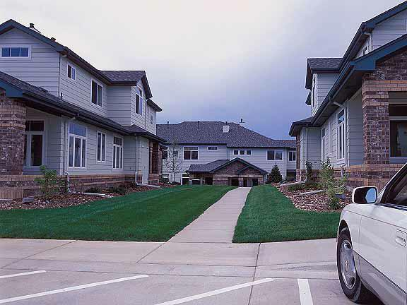 Permeable Pavers were installed in the fire lane access areas at the Green River Apartments, Highlands Ranch, Colorado, using Grasspave2.