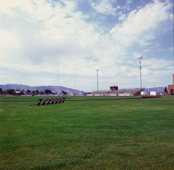 Grass Paving was installed in the maintenance-access areas at the soccer field, Alta High School, Sandy, Utah, using Grasspave2.
