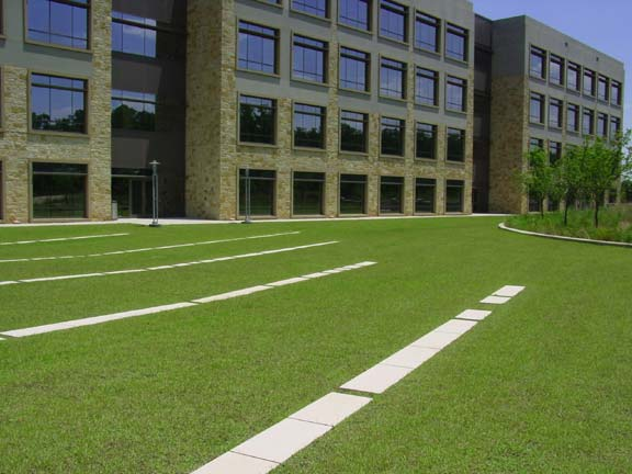 Turf Pavers were installed for fire lane access and employee enjoyment using Grasspave2.