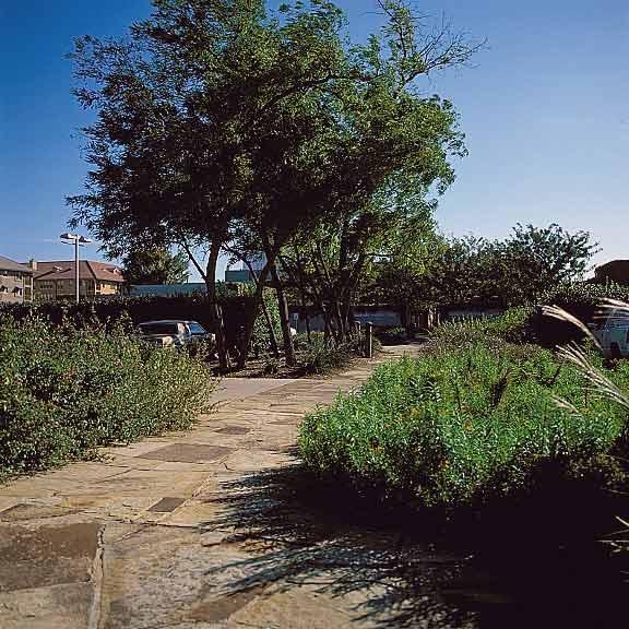 Permeable Pavers were installed around the pedestrian garden walkway using Grasspave2.