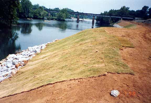 Slope-erosion control was achieved by using Slopetame2.