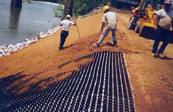 Erosion-Control Mats are used to stabilize soil using Slopetame2.
