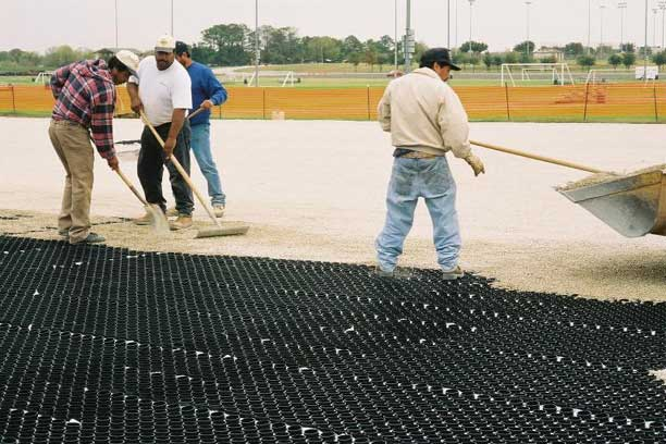 Gravel Reinforcement was installed on North Lakes Park Soccer Complex Parking Lot using Gravelpave2.