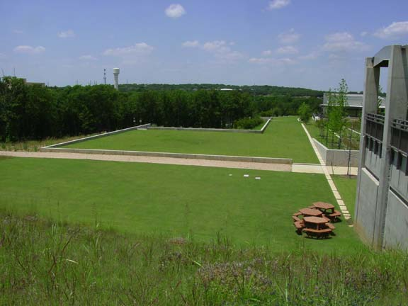 Turf reinforcement was installed for fire lane access and employee enjoyment using Grasspave2.