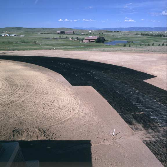 Soil-control mats were installed to prevent erosion, using Slopetame2 and Grasspave2.