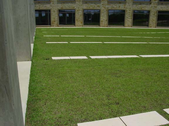 Pervious Pavers were installed for fire lane access and employee enjoyment using Grasspave2.