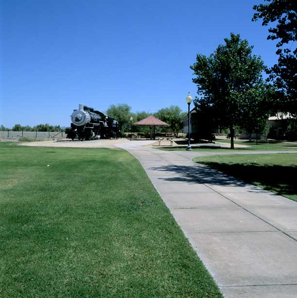Turf pavers were installed in the fire lane access areas at the Yuma Crossing State Historical Park, Yuma, Arizona, using Grasspave2.