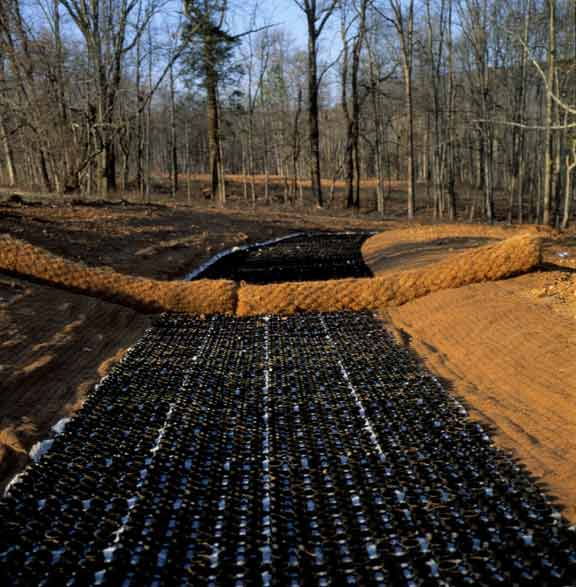 Erosion Control and soil stabilization were achieved at Clift's Cove, Madison, Alabama, using Slopetame2.