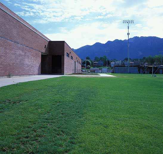 Turf-reinforcement mats were installed in the maintenance-access areas at the soccer field, Alta High School, Sandy, Utah, using Grasspave2.
