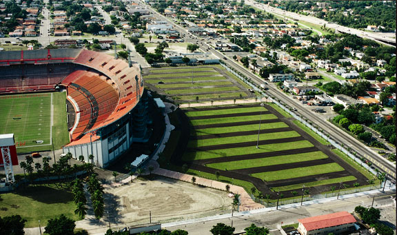 Grass-Porous Pavers were installed in the parking areas at Miami Marlins Park, Miami, Florida, using Grasspave2.