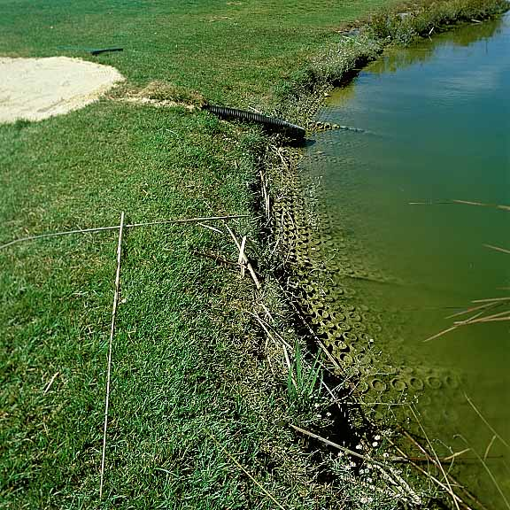 Soil stabilization was achieved around the pond by using Slopetame2.