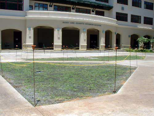 Pervious grass paving was installed at the Iolani School, Honolulu, Hawaii, using Grasspave2.
