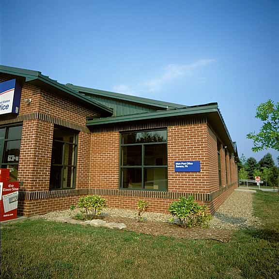 Porous pavement was installed around the Post Office in Seneca, Pennsylvania, using Gravelpave2.
