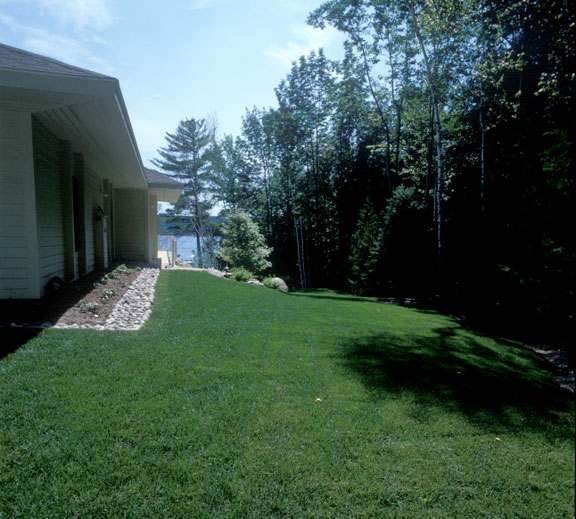 Grass paver was installed in the boat access lane at a Lake Charlevoix residence, Charlevoix, Michigan, using Grasspave2.
