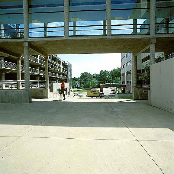 Pervious fire lane was installed between buildings to provide fire truck access at the University of Iowa Hospitals & Clinics in Marion, Iowa, using Grasspave2.
