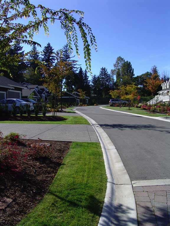 Grass permeable pavers were installed to widen the road at the Hill Rise Terrace, Victoria, British Columbia, using Grasspave2.