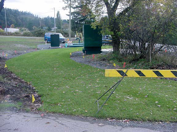 Pervious grass paving was installed in the utility access areas at the Blenkinsop Lift Pump Station, Victoria, British Columbia, using Grasspave2.