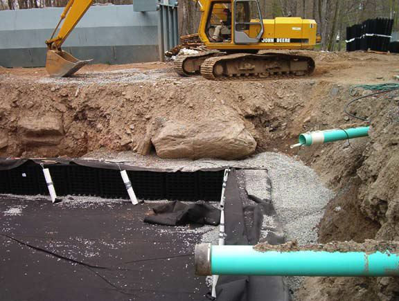 Storm water storage and drainage layer were installed at the Arrowhead Lake water treatment facility solving storage and drainage problems using Draincore2 and Rainstore3.