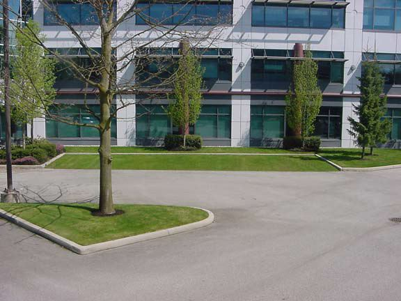 Turf pavers were installed in parking areas at the Crestwood Corporation in Richmond, British Columbia, using Grasspave2.