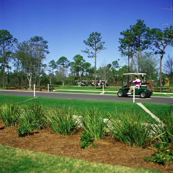 Grass pavers were installed in off-street parking areas at the Regatta Bay Golf Course in Destin, Florida, using Grasspave2.
