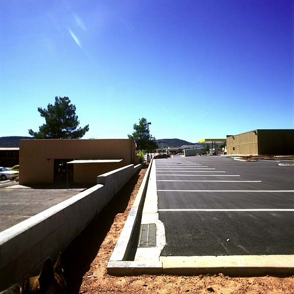 A water harvesting and irrigation system was installed at the La Terraza Center (Shopping), Sedona, Arizona, using Rainstore3.