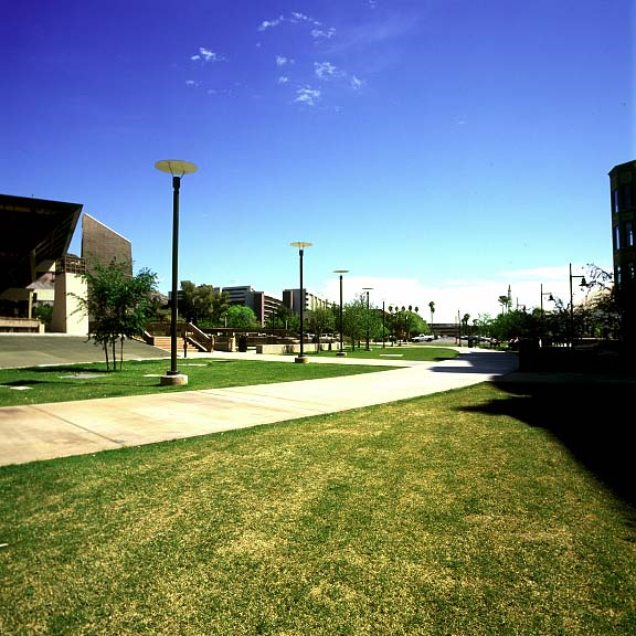 Porous pavement was installed in the fire-lane access areas at the Tempe Municipal Building, Tempe, Arizona, using Grasspave2.