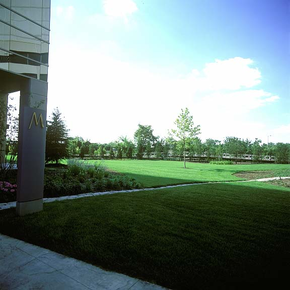 A Reinforced-Grass-Paving System was installed in the fire lane access areas at the Miranova Residences and Office Tower in Columbus, Ohio, using Grasspave2.