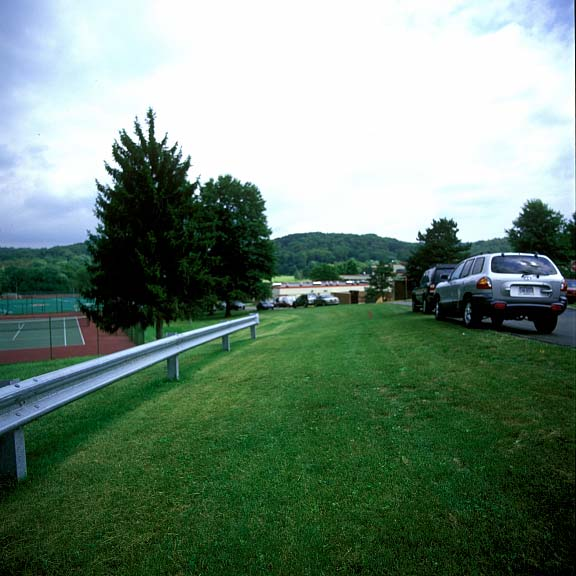 Reinforced-Grass Parking Lanes were installed to provide additional-event parking at Fox Chapel Area High School, Pittsburgh, Pennsylvania, using Grasspave2.
