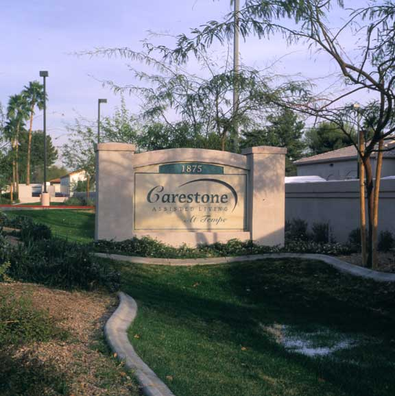 Porous Pavement was installed around the entry sign to Carestone Assisted Living, using Grasspave2.