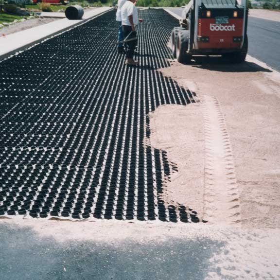 Permeable Pavers were installed in the parking lot at Vail Lutheran Church, Edwards, Colorado, using Gravelpave2.