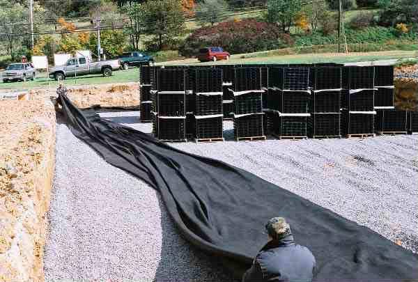 Subsurface-Water Storage was installed at Joe Bowman Chevrolet, Harrisonburg, Virginia, using Rainstore3.
