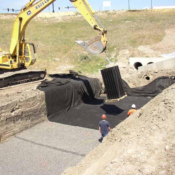 Underground-Water Retention was installed at Gym 2000, Castle Rock, Colorado, using Rainstore3.