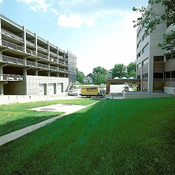Porous fire lane was installed between buildings to provide fire truck access at the University of Iowa Hospitals & Clinics in Marion, Iowa, using Grasspave2.