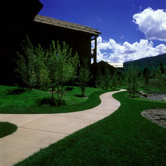Grass paving was installed in fire-lane access areas at the Snowmass Club in Snowmass, Colorado, using Grasspave2.