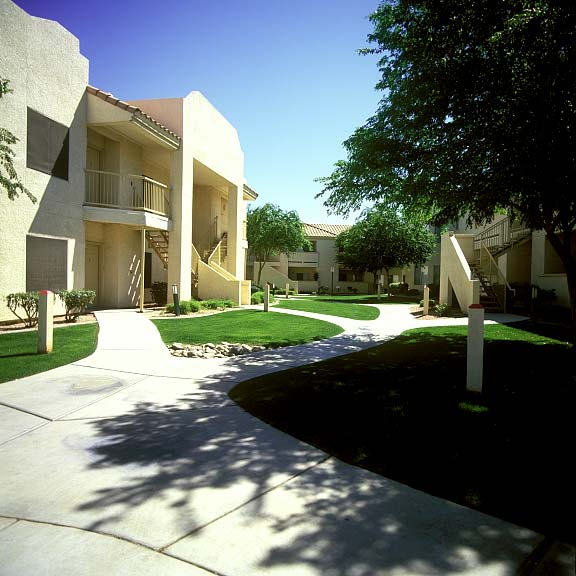 Pervious pavers were installed in the fire lane at the Allegro Apartments in Phoenix, Arizona, using Grasspave2.