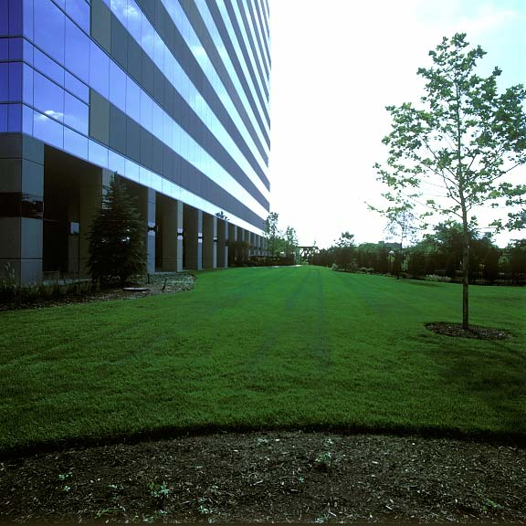 Permeable Pavers were installed in the fire lane access areas at the Miranova Residences and Office Tower in Columbus, Ohio, using Grasspave2.